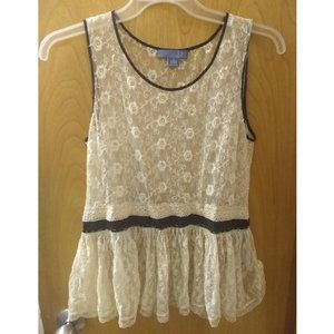 Anthropologie Dil Sheer Lace Ivory Floral Tank Top